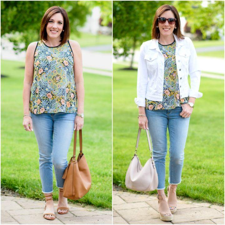Frayed Hem Crop Jeans + Floral Tank