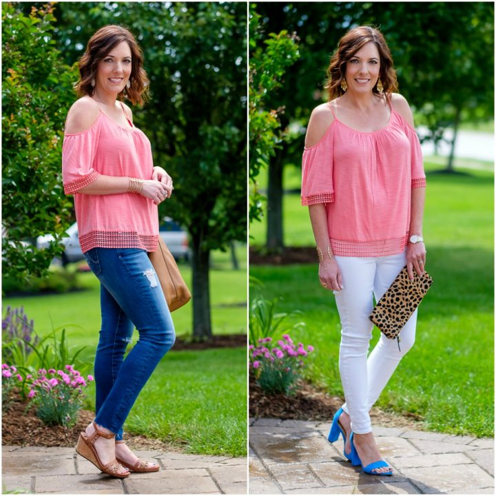 Coral Cold Shoulder Top Two Ways