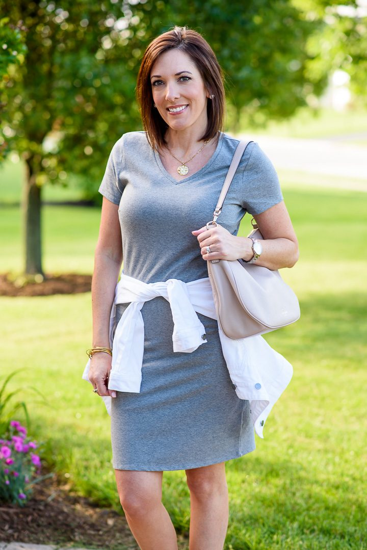 Old Navy Fitted V-Neck Tee Dress with white denim jacket