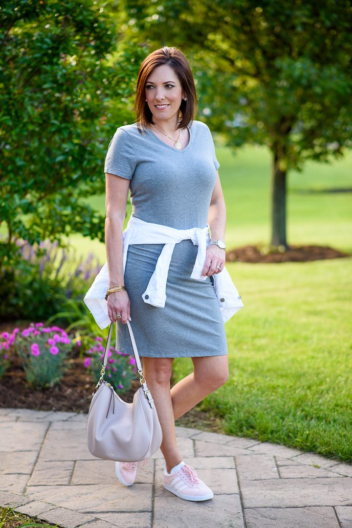 This fitted v-neck t-shirt dress from Old Navy is a great alternative to shorts in the summertime. Just throw it on with sneakers or sandals, add a denim jacket or cardigan along with a few simple accessories, and you're good to go!