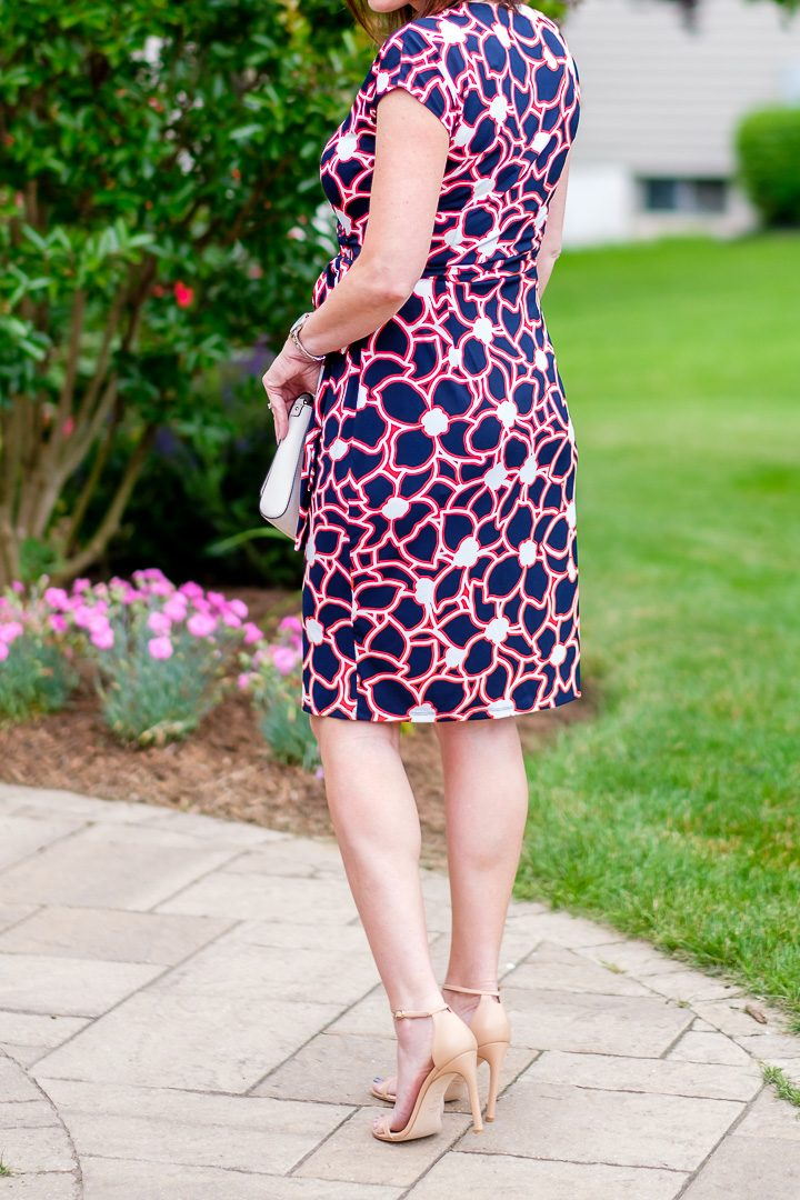 Summer Wrap Dress with nude strappy sandals