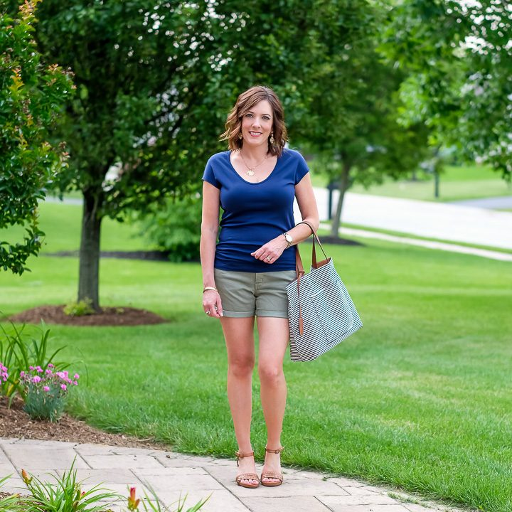 Navy & Olive Shorts Outfit