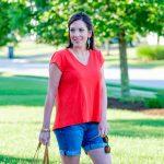 Orange Swing Top + Denim Shorts Outfit