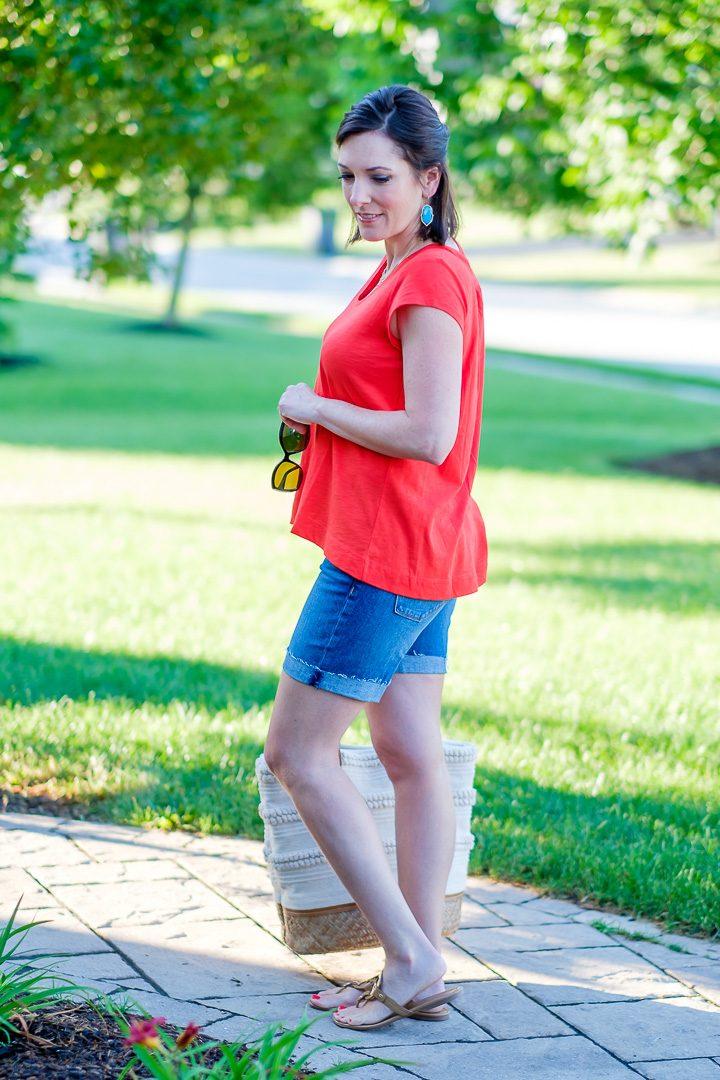 Orange Swing Top Denim Shorts Outfit