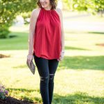 Summer Date Night Outfit with Gathered Halter Top