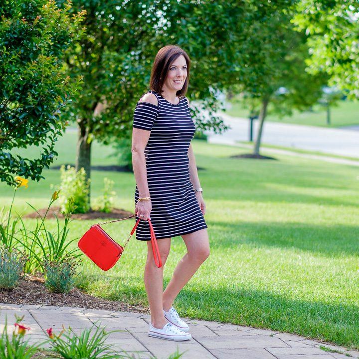 Cold Shoulder Striped Sneaker Dress