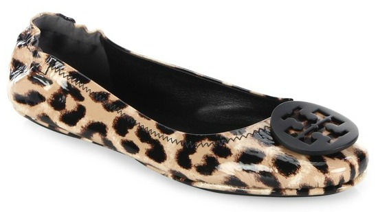Tory Burch Minnie Travel Ballet Flats in Leopard