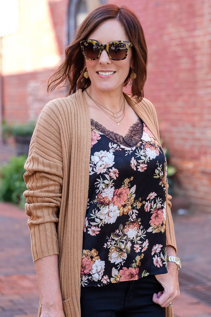 Fall florals and a camel cardigan.