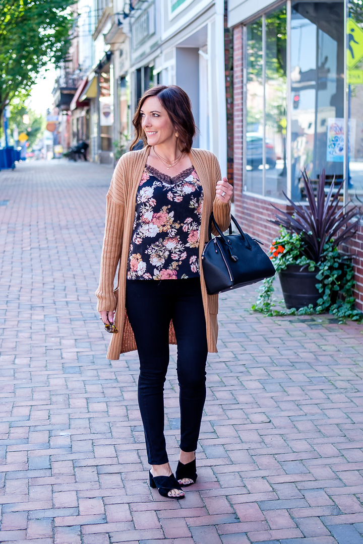 Fall transition outfit featuring several of this year's hottest trends -- cardigans, slides, and fall florals!