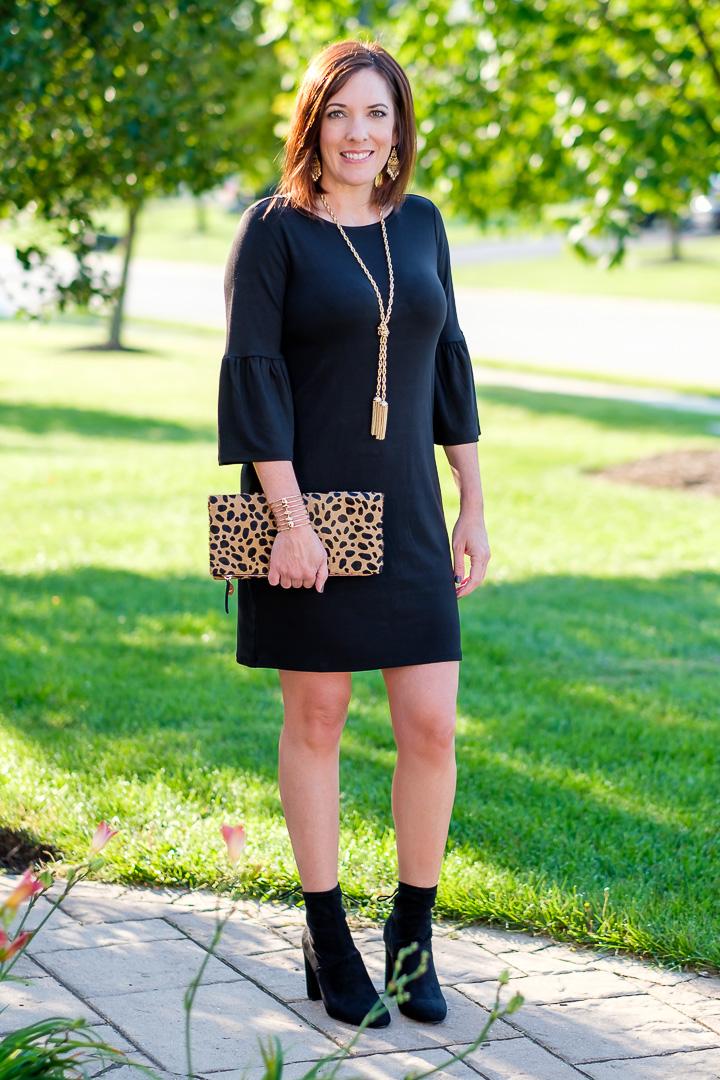 Black Bell Sleeve Shift Dress