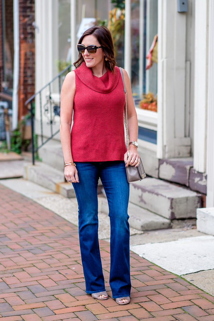 Sleeveless Cowlneck Sweater Bootcut Jeans